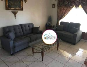 New Grey Fabric 2pc Sofa & Loveseat Set - Financing Available for Sale in Moreno Valley, CA