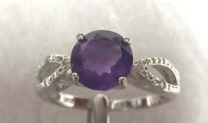 Amethyst ring set in silver setting size 7 for Sale in Selden, NY
