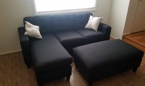 Brand New Black Linen Sectional Sofa Couch +Ottoman for Sale in Silver Spring, MD