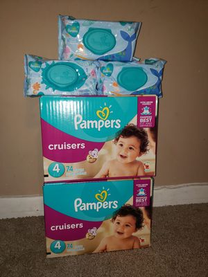 2/74 Pampers cruisers SIZE#4 +3/72 Pampers wipes$45.00 for Sale in Riverdale, GA