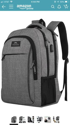 Travel laptop backpack with usb charging port and water resistance fits 15.6 inch laptop for Sale in Charlotte, NC