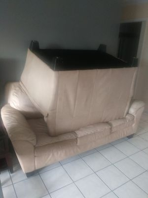Leather couch for Sale in Pompano Beach, FL