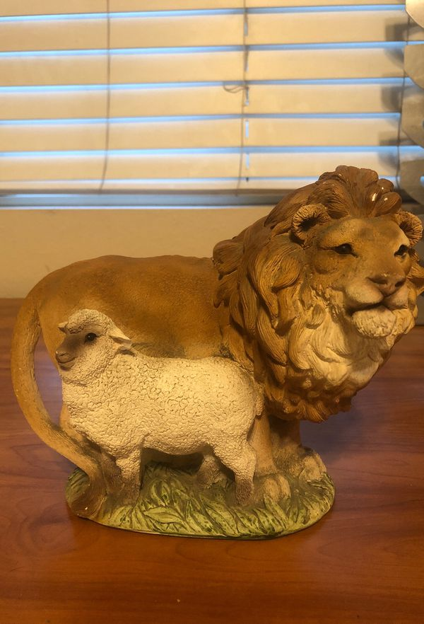 Lion and the lamb statue/ collectible religious piece