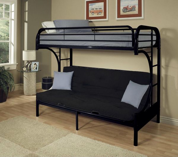 Contemporary Twin over Futon Convertible Couch and Bed with Metal Frame and ladders - Black