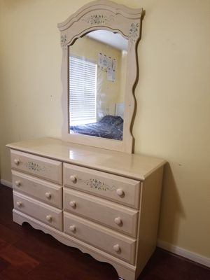 Cute French Country style kids room furniture - desk, chair, dresser with mirror and end table for Sale in Sugar Land, TX