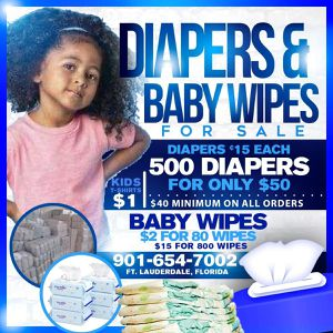 Diapers, wipes, and tshirts at affordable rates for Sale in Oakland Park, FL