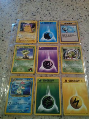 Vintage 1990's Pokemon/9 cards/4- energy/ Pikachu/ trainer/ Erica's exeggutor/ spinarak/ croconaw for Sale in Taylor, MI