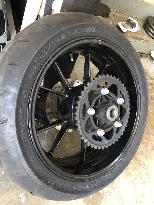2010-2014 bmw s100rr rear rim with rotor and sprocket