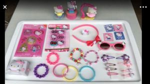 HELLO KITTY 28 Pieces: NEW Stickers NEW Erasers (7) Bracelets (1) Ring (4) Magnets, Glasses, (4) Toys (8) Hair Clips for Sale in Plainfield, IL