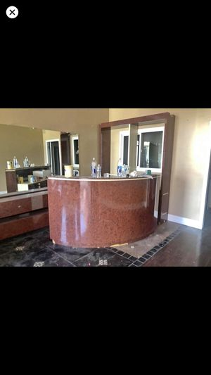 Recepción desk and wood and glass shelves for Sale in Manteca, CA