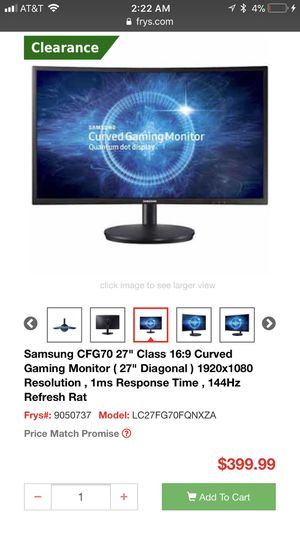 """Samsung 27"""" curved gaming monitor 144 hz 1080x1920 1 ms response time Free sync for Sale in Keizer, OR"""