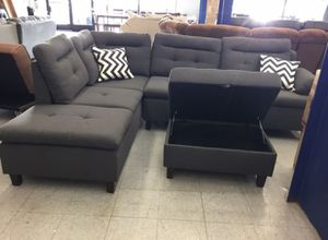 Brand New Charcoal Linen Sectional Sofa Couch +Storage Ottoman for Sale in Silver Spring, MD