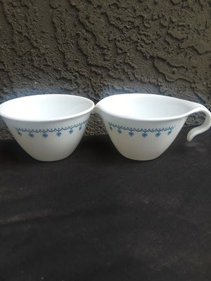 Corelle/Pyrex Blue Garland sugar bowl and creamer for Sale in Phoenix, AZ