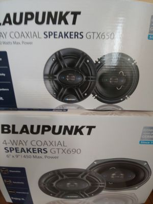 Car speakers : ( total 2 pairs) 1 pair Blauounkt 6.5 inch 4 way 360 watts 1 pair 6×9 4 way 450 watts car speakers ( brand new price is lowest ) for Sale in Santa Ana, CA