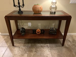 Glass top cherry sofa table for Sale in Gilbert, AZ