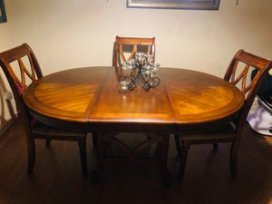 Dining room table and chairs. 3 chairs included, suede seats. for Sale in Clyde, TX