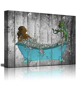 Wall Decor for Bathroom Wall Decor Modern Girls Room Decor Framed Wall Art Mermaid Canvas Prints Wall Decorations for Bedroom Nautical Theme Mermaid for Sale in Chino, CA