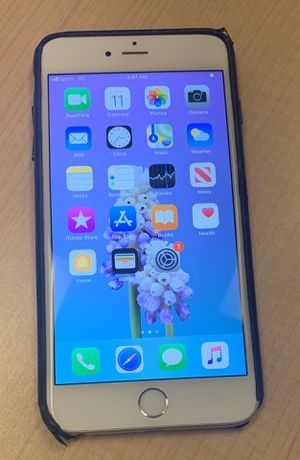 iPhone 6s Plus in Silver $350 Sprint + Apple leather case for Sale in Denver, CO