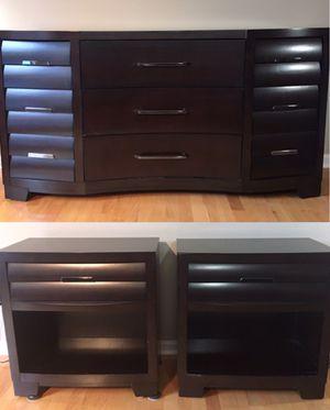 Set of Pulaski Sable 2 wood Nightstand & 1 wood dresser, brown for Sale in Lexington, KY