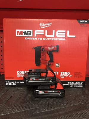 Milwaukee Brad Nailer 2nd gen 18 gauge with two batteries for Sale in Las Vegas, NV