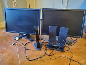 """2 20"""" Dell monitors, Toshiba Dynadoc, and speakers for Sale in Lafayette, LA"""