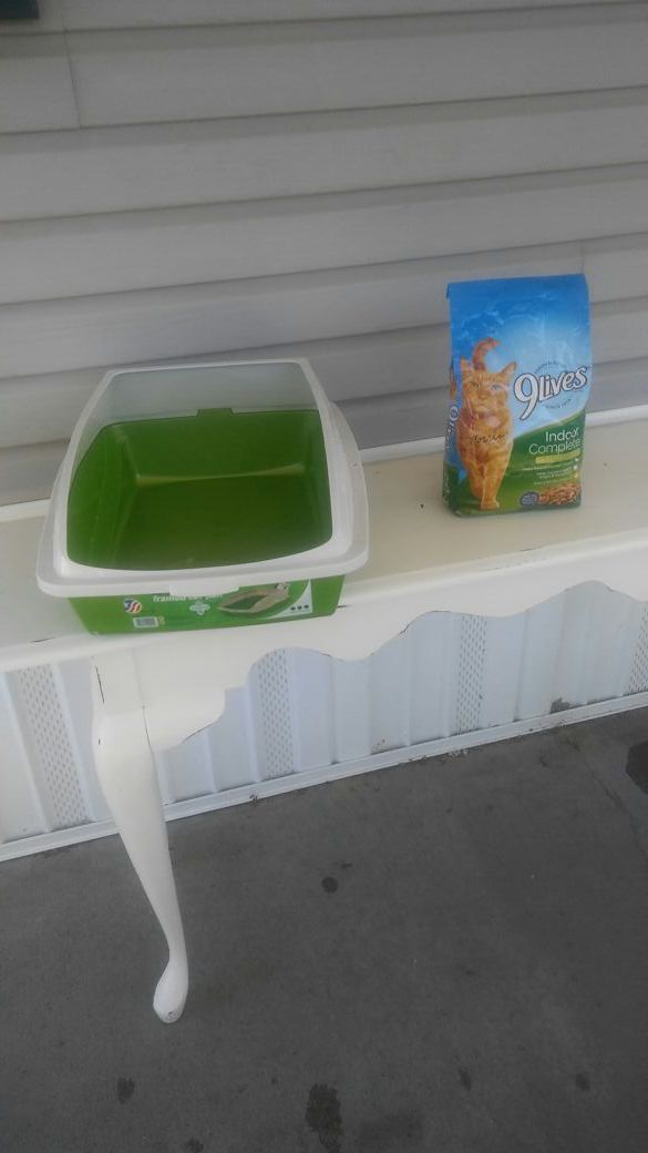 Large Cat Litter Box And Bag of food