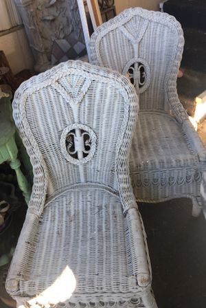 Sweet vintage antique Victorian shabby chic wicker chairs. Also Book / magazine basket rectangular mirror and hamper. for Sale in Torrance, CA