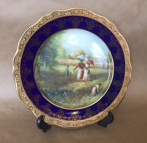 French Imperial Limoges 22K gold Cobalt Blue Collectible Decorative Plate for Sale in Dania Beach, FL