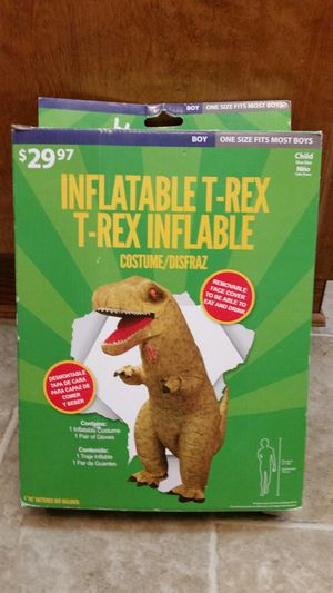 Kids T-Rex Inflatable Costume. Used 1 Time. In Perfect condition for Sale in Palmdale, CA
