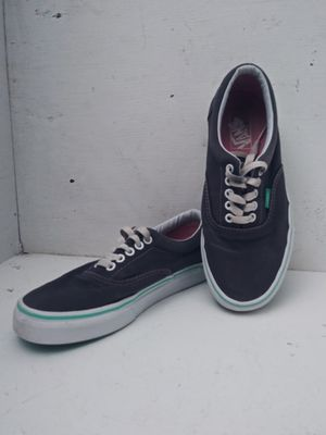 Vans size 7mens 8.5 womans grey with pink stitching and teal around sole for Sale in Benton City, WA