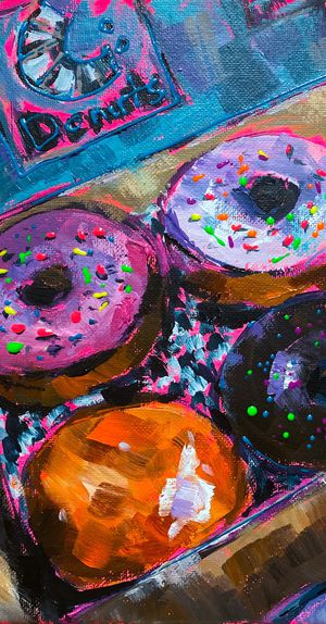 Donuts 🍩 Original acrylic painting on canvas 10x10 inches. Buy from the artist 👩🏻‍🎨 for Sale in Los Angeles, CA