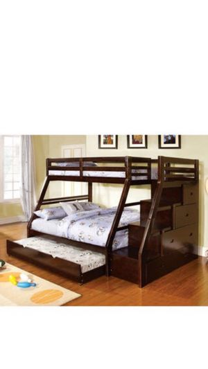 Dark Walnut Finish Twin-over-Full Bunk Bed, 4 drawers for Sale in Dundee, FL