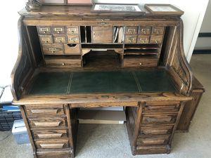Antique roll top desk - oak crest for Sale in Modesto, CA