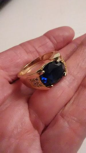 Size 10 Blue Sapphire 18K heated layered gold 925 sterling ring for Sale in Lombard, IL