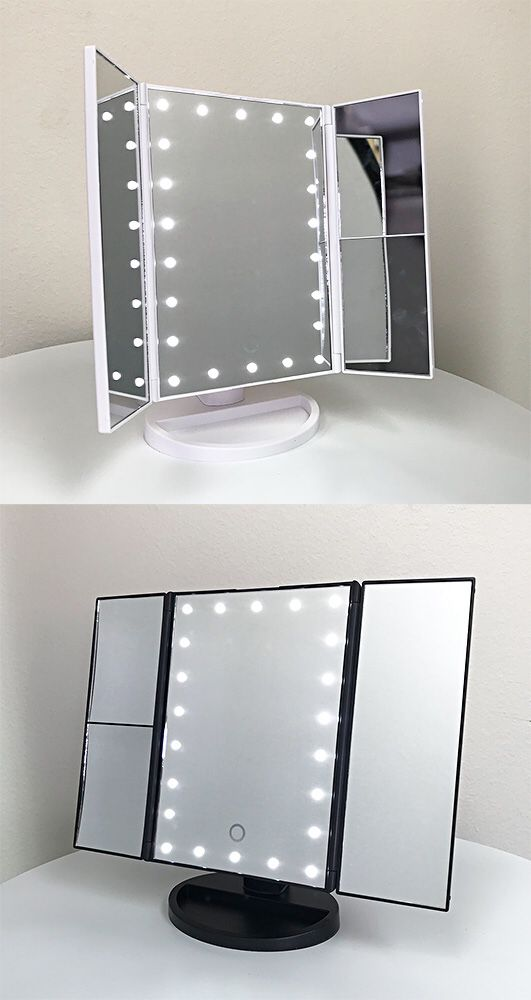 """New $20 each Tri-fold LED Vanity Makeup 13.5""""x9.5"""" Beauty Mirror Touch Screen Light up Magnifying"""