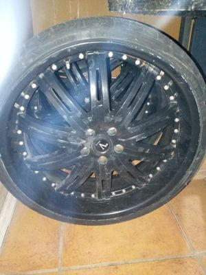 4 Black used velocity rims with tires for Sale in Doral, FL