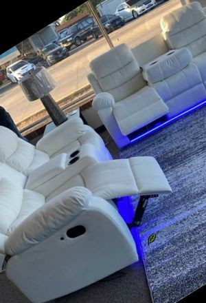 ➡️$39 Down 🍺No İNTEREST      EXCLUSIVE] Party Time White LED Power Reclining Living Room Set with Adjustable Headrest 149 for Sale in Elkridge, MD