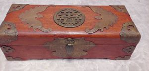Antique Chinese Hardwood & Brass Bound Box for Sale in Bellevue, WA