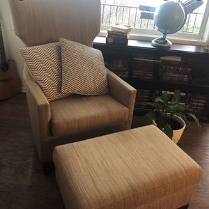 High Wingback Lounge Chair With Ottoman Set Of 2 for Sale in Snohomish, WA