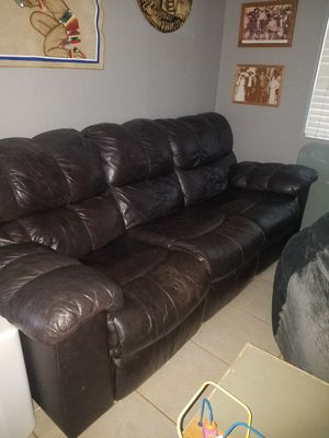 Real leather sofa has reclining on both ends for Sale in Orland, CA