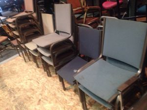 Church seating with metal book storage underneath for Sale in Caledonia, MI