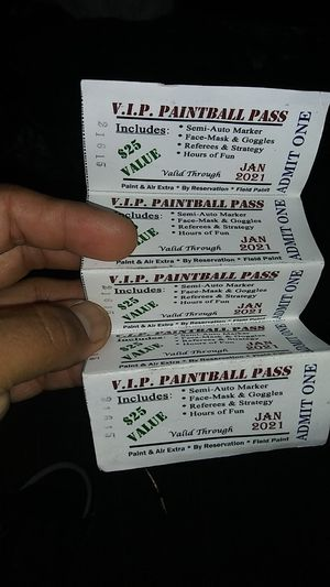 VIP paintball pass 5 of them for Sale in San Antonio, TX