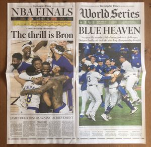(1 NEW SET AVAILABLE) LOS ANGELES TIMES: DODGERS & LAKERS WIN 2020 CHAMPIONSHIPS for Sale in Lynwood, CA