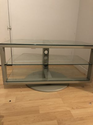 TV Stand Glass-Metal, turning. 37Lx21.5Wx19H inchesg for Sale in Rockville, MD