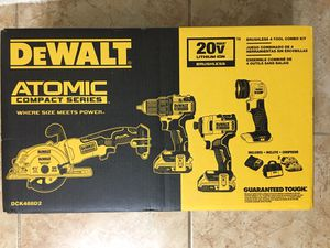 DEWALT ATOMIC 20-Volt MAX Lithium-Ion Brushless Cordless Combo Kit (4-Tool) with 2 Batteries 2.0 Ah, Charger, and Tool Bag for Sale in Phoenix, AZ