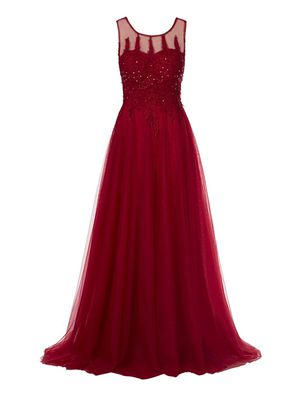 New Women's A-Line Scoop Backless Appliques Homecoming Christmas New year red long Dress for Sale in US