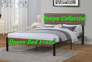 NEW, Queen Metal Bed Frame with Wooden Headboard, SKU# 7532Q for Sale in Midway City, CA