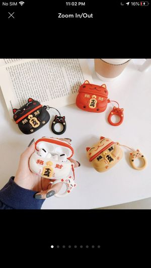 """Fun Lucky Cat Novelty Airpod Pro Silicon Protective Case (White) Signifies Good Luck & Fortune (Maneki-Neko also known as the """"Lucky Cat"""") 4 color op for Sale in Placentia, CA"""