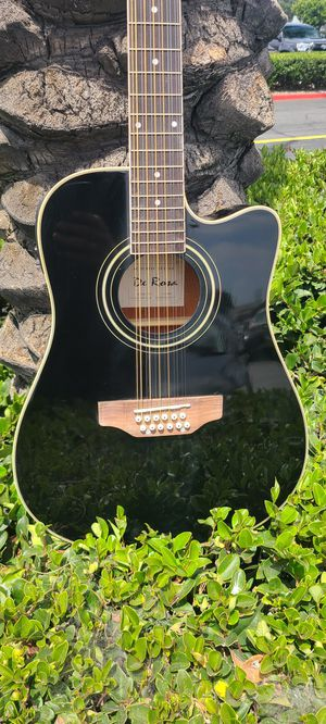New Black 12 String Requinto Guitar Combo with Gig Bag and accessories. Guitarra Requinto Negro Cutaway con accesorios y Bolsa. for Sale in Bell Gardens, CA