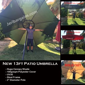 New 13ft Patio Umbrella XXL Shade Pool Canopy Steel Frame (Green or Red Available) for Sale in Riverside, CA